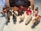 Antique Vintage Celluloid Nativity Figures with Cardboard Stable