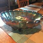 vintage iridescent blue carnival glass footed fruit dish with scalloped edges