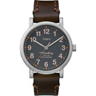 Timex TW2P58700, Men's Brown Leather Watch, Indiglo, Waterbury Collection