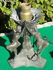 Rare Vintage Art Deco Lamp 3 Female Figures Three Nymphs Works