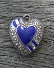 VINTAGE STERLING SILVER PUFFY HEART CHARM Repousse Flowers Border with Enamel