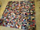 Antique Victorian CRAZY QUILT Silk Satin Velvet Wool Embroidery 90x90 Very Old