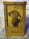 RARE Victorian Miniature Brass Frame HANDSOME MAN tintype PHOTO gay int GRYPHONS