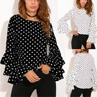 US Womens Casual Long Sleeve Blouse Tops Polka Dot Printed T shirt Plus Size