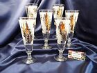 Vintage G. Reeves Pilsner Gold Leave Foliage Frosted Glass Mid Century Set of 6
