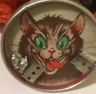 Vintage CRAZY CAT Dexterity Game Toy with Mice GREAT FACE Tin Embossed Cat Back