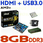 GAMING COMBO AMD FX 8350 EIGHT CORE CPU+8GB DDR3 RAM+ASUS HDMI USB3 Motherboard