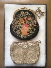 Vintage Antique Embroidered Floral Beaded Purse Lot