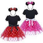 Childrens Girls Pink Red Minnie Mouse Kids Baby Girl Tutu Dress w Headband O83