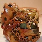 Antique Chinese Hand Carved Soapstone Triple Pot or Vase Nature Birds Flowers
