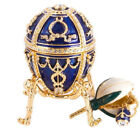 Russian Faberge Egg Blue Jewelry Box Made Easter Rosebud Egg w Surprise