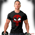 Deadpool T-Shirt Distressed Punisher Skull Crossover Logo Workout Gym Apparel