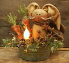 HANDMADE PRIMITIVE SPRING BUNNY RABBIT DOLL CARROTS CANDLE LAMP LIGHT