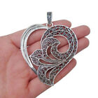 2 x Large Tibetan Silver Heart Charms Pendants for Necklace Jeweller