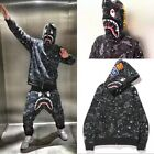 BAPE A BATHING APE SPACE CAMO SHARK SWEARER FULL ZIP COAT JACKET HOODIE MEN'S