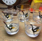Set of Five Awesome Vintage Federal Glass Black Rooster Cock Tumblers Bar Retro!