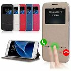 Fashion Metal Touch Flip Window PU Leather Stand Case TPU Cover Silicone Bumper