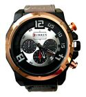 Mens Fashion Watch Curren M8287 Faux Leather Band, Casual Watch Water Resistant