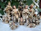 Nativity 12 Scale Paper Mache Christmas Made in Japan 12 Piece Brutalist Style