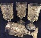 Vtg Anchor Hocking Set 4 Wexford 6oz Glass Water Wine Goblet Footed Diamond Cut