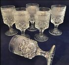 Vtg Anchor Hocking Set 6 Wexford Glass Wine Juice Goblet Footed Diamond Cut