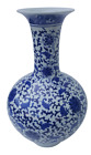 18 H Chinese Ball Vase Blue and White Hand Painted