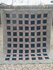 Antique Large Heavy Primitive Hand Made with Embroidery Tied Block Quilt Earl