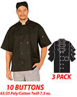 Hilite Chef Coat 10 Buttons Short Sleeve 6535 Polycotton Twill 7.5 Oz. 530bk