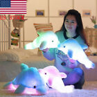 US 45cm LED Ligths Dolphin Doll Colorful Luminous Plush Toys Pillow Kids Gift