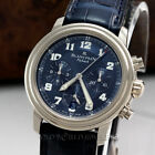 BlancPain Leman Flyback Chronograph 2185F Blue Dial 18K White Gold Box Papers