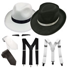 GANGSTER HAT BRACES TIE SPIV TASH 1920S FANCY DRESS COSTUME 1920S SET SUSPENDE