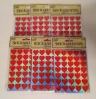Stickabilities Scrapbook Stickers Red Hearts Shiny 6 Packages x 2 Sheets NEW