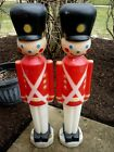 TWO Classic 1980s UNION Soldier Plastic Blow Mold Lighted Christmas Decoration