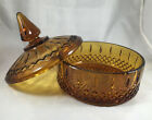 Vintage Amber Indiana Glass Round Candy Dish Lid Princess Pattern Compote Retro