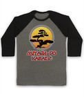 MIYAGI DO BONSAI TREE LOGO UNOFFICIAL THE KARATE KID 3 4 SLEEVE BASEBALL TEE