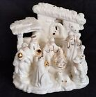 Nativity Scene Ivory Porcelain Gold Trim Figurine LARGE 9