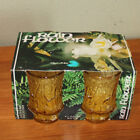 Vintage Anchor Hocking Amber Rain Flower Juice Glasses In Original Package NEW