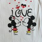 Mickey and Minnie Mouse Heart Love Womens Juniors Small Shirt