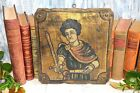 Antique French Joan of Arc Baroque Gilded Religious Wood Icon Plaque Relic