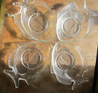 4 pc lot Vintage Clear Fish Shaped Glass Snack /Appetizer Plate/Dish