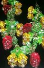 STUNNING VINTAGE CZECH YELLOW GLASS FLOWER WITH RED GLASS GRAPES WIRE NECKLACE