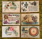 Antique Greeting Post Cards Embossed Lot Of 6 Flowers Best Wishes New Year