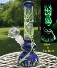 Glass Bong Water pipe Two w Perc Bubbler Glow In The Dark Herb Bowl BLUE 10
