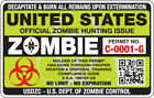United States ZOMBIE Hunting Permit No Expiration Decal Sticker