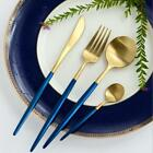 24-Piece Modern Blue Gold Stainless Steel Flatware Cutlery Set (6 Settings)