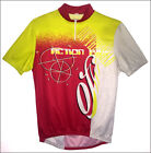 Vintage Italian ACTION BIKE red yellow three pocket stretch poly cycle jersey LG
