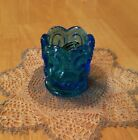 Vtg. Smith Handmade TURQUOISE BLUE TOOTH PICK HOLDER Moon and Star Pattern 2.25