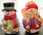 CHINA SNOWMEN SALT AND PEPPER SHAKER SET HAND PAINTED BY HOME
