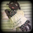 Artist made Primitive FOLK ART Black Kitchen ANGEL DOLL