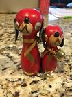 Vintage Magnetic Red Dogs Salt And Pepper Shakers
